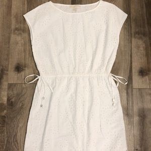 White eyelet lace Michael Kors dress side ties